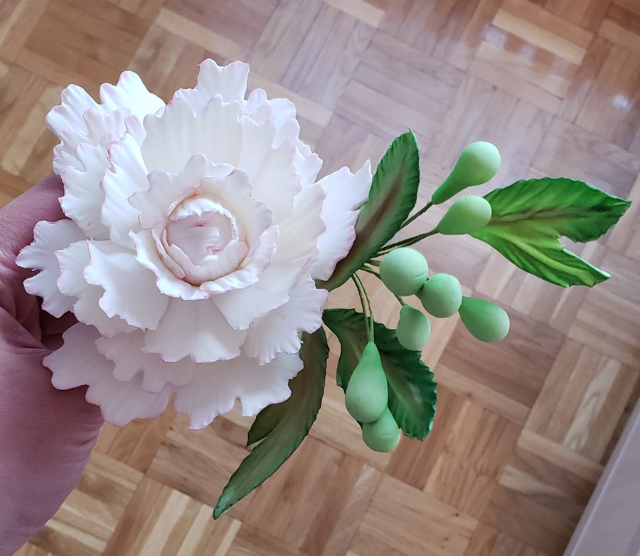 Lily, Peony, Leaves, Small Flowers, Buds, and Assembling the Bouquet