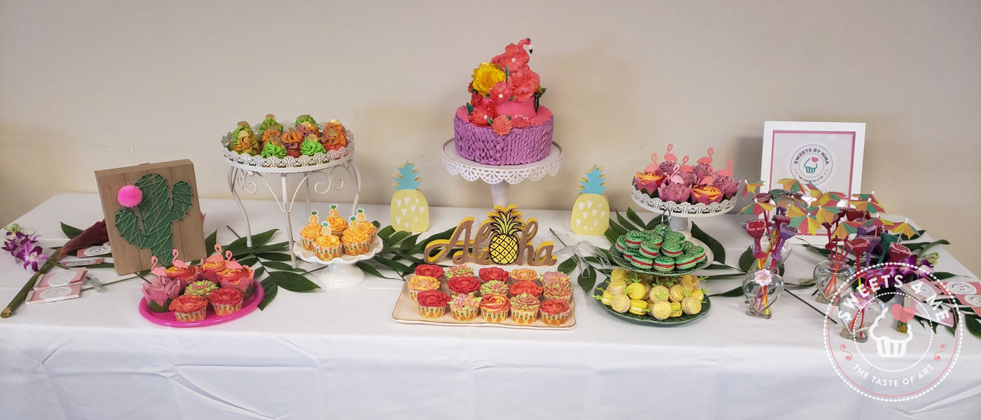 Hawaian party sweets table